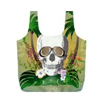 Funny Skull With Sunglasses And Palm Full Print Recycle Bags (M)  Front