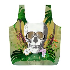 Funny Skull With Sunglasses And Palm Full Print Recycle Bags (L)