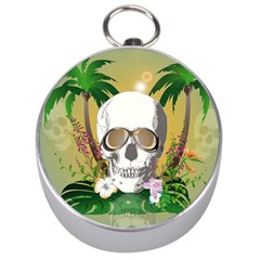 Funny Skull With Sunglasses And Palm Silver Compasses