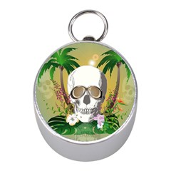 Funny Skull With Sunglasses And Palm Mini Silver Compasses