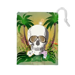 Funny Skull With Sunglasses And Palm Drawstring Pouches (Large)