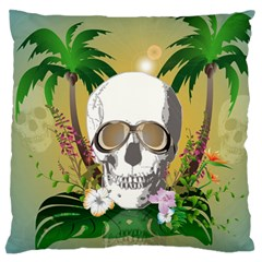 Funny Skull With Sunglasses And Palm Large Flano Cushion Cases (one Side)