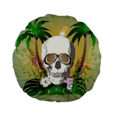 Funny Skull With Sunglasses And Palm Standard 15  Premium Flano Round Cushions
