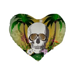 Funny Skull With Sunglasses And Palm Standard 16  Premium Flano Heart Shape Cushions