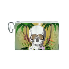 Funny Skull With Sunglasses And Palm Canvas Cosmetic Bag (S)
