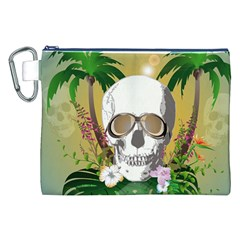 Funny Skull With Sunglasses And Palm Canvas Cosmetic Bag (XXL)