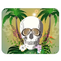Funny Skull With Sunglasses And Palm Double Sided Flano Blanket (Medium)