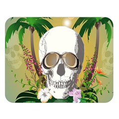 Funny Skull With Sunglasses And Palm Double Sided Flano Blanket (Large)