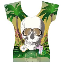 Funny Skull With Sunglasses And Palm Women s V-Neck Cap Sleeve Top