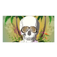 Funny Skull With Sunglasses And Palm Satin Shawl