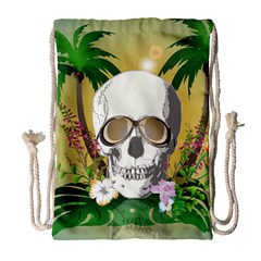 Funny Skull With Sunglasses And Palm Drawstring Bag (Large)