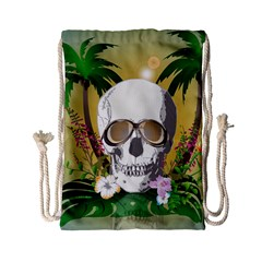 Funny Skull With Sunglasses And Palm Drawstring Bag (Small)