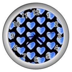 Heart Pattern Blue Wall Clocks (Silver)