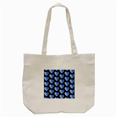 Heart Pattern Blue Tote Bag (Cream)