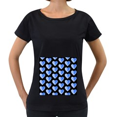 Heart Pattern Blue Women s Loose Fit T Shirt (black)