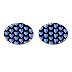 Heart Pattern Blue Cufflinks (Oval)