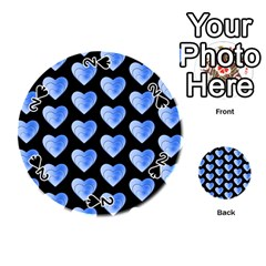 Heart Pattern Blue Playing Cards 54 (round)