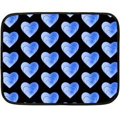 Heart Pattern Blue Fleece Blanket (Mini)