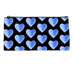 Heart Pattern Blue Pencil Cases
