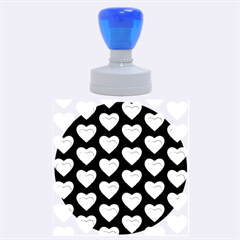 Heart Pattern Blue Rubber Round Stamps (Large)