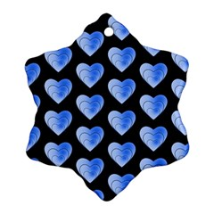 Heart Pattern Blue Snowflake Ornament (2 Side)