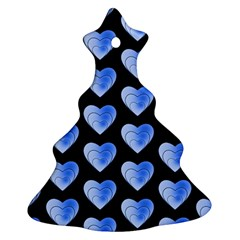 Heart Pattern Blue Christmas Tree Ornament (2 Sides)