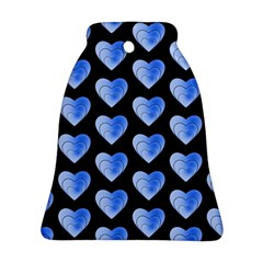 Heart Pattern Blue Bell Ornament (2 Sides)