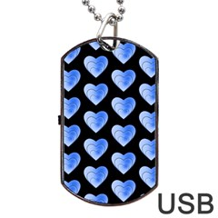 Heart Pattern Blue Dog Tag Usb Flash (two Sides)
