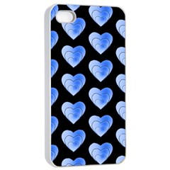 Heart Pattern Blue Apple Iphone 4/4s Seamless Case (white)