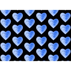 Heart Pattern Blue Birthday Cake 3D Greeting Card (7x5)