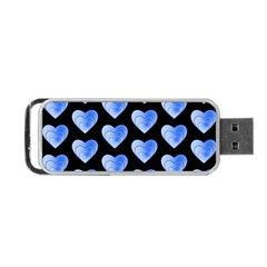 Heart Pattern Blue Portable USB Flash (Two Sides)