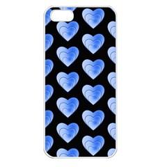 Heart Pattern Blue Apple iPhone 5 Seamless Case (White)