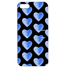 Heart Pattern Blue Apple iPhone 5 Hardshell Case with Stand