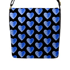 Heart Pattern Blue Flap Messenger Bag (L)