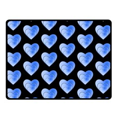 Heart Pattern Blue Double Sided Fleece Blanket (small)