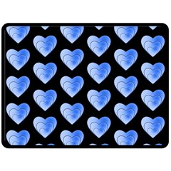 Heart Pattern Blue Double Sided Fleece Blanket (Large)