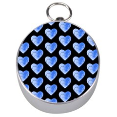 Heart Pattern Blue Silver Compasses