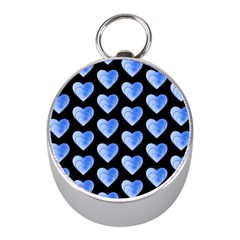 Heart Pattern Blue Mini Silver Compasses