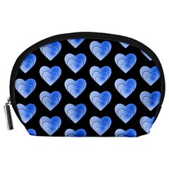 Heart Pattern Blue Accessory Pouches (Large)