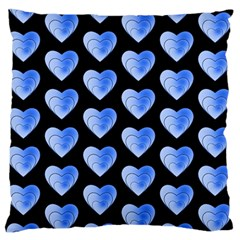 Heart Pattern Blue Standard Flano Cushion Cases (two Sides)