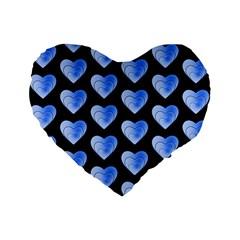 Heart Pattern Blue Standard 16  Premium Flano Heart Shape Cushions