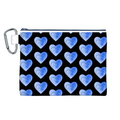 Heart Pattern Blue Canvas Cosmetic Bag (L)