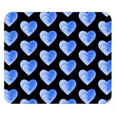 Heart Pattern Blue Double Sided Flano Blanket (Small)