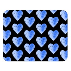 Heart Pattern Blue Double Sided Flano Blanket (Large)