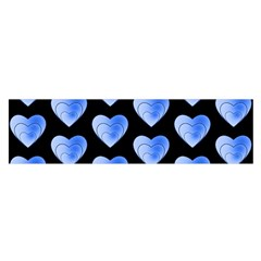 Heart Pattern Blue Satin Scarf (Oblong)