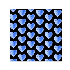 Heart Pattern Blue Small Satin Scarf (square)
