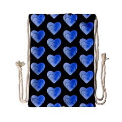 Heart Pattern Blue Drawstring Bag (Small)