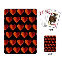Heart Pattern Orange Playing Card