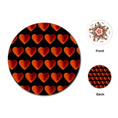 Heart Pattern Orange Playing Cards (round)