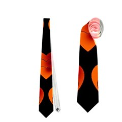 Heart Pattern Orange Neckties (Two Side)